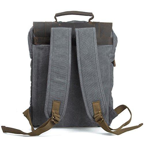 """Canvas Backpack, P.KU.VDSL Laptop Backpack, Vintage Canvas Backpack, Casual Daypacks, Retro Rucksack, Travel Bags, Genuine Leather Shoulder Bag for Men Outdoor Sports Recreation Fit 15"""" Laptop 2"""