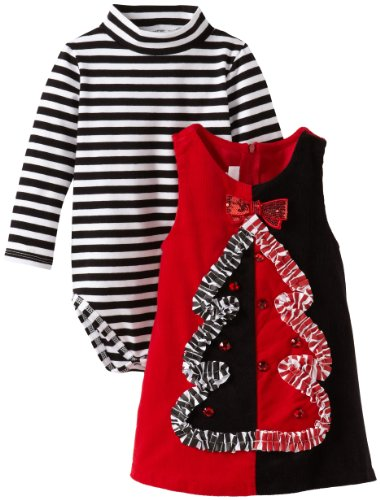 Bonnie Baby Baby-Girls Infant Colorblock Tree Applique Corduroy Jumper, Black, 12 Months front-1003664