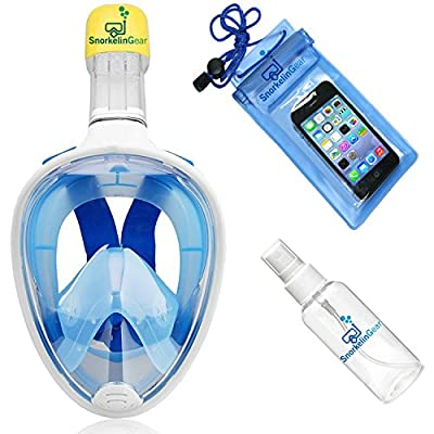 SnorkelinGear Snorkel Mask Set for Adults and Children - Full Face Easybreath Snorkeling Gear with 180° Sea View including Universal Waterproof Case and Anti-Fog Spray