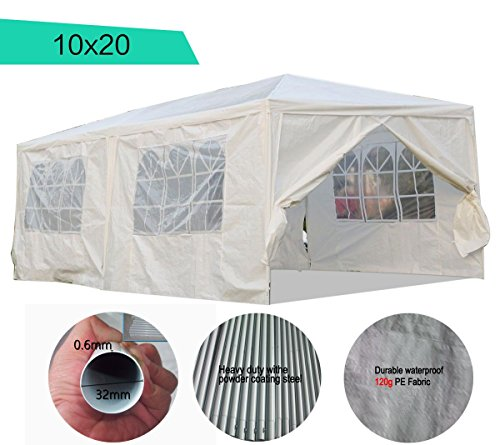 Peaktop® 10`x10`/10`x20`/10`x30`/11`x13` Heavy Duty Outdoor Party Wedding Tent Canopy Gazebo Carport Storage Shelter Pavilion Multiple Choices (White, 10X20)