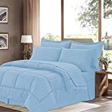 Sweet Home Collection 8 Piece Bed In A Bag With Dobby Stripe Comforter, Sheet Set, Bed Skirt, And Sham Set - Queen... - B01A1GDKTA