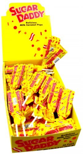 Sugar Daddy Caramel Pops, Small size, 48 count display box
