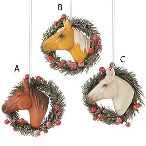 Horse Head in Glittery Wreath Christmas Ornament