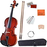 ADM 4/4 Full Size Handcrafted Solid Wood Student Acoustic Violin Starter Kit, Red Brown