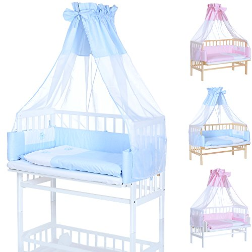 lcp kids baby beistellbett in weiss mit blauer bettw sche komplett set nestchen und matratze. Black Bedroom Furniture Sets. Home Design Ideas