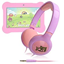 buy Ikross Purple / Pink Kid Safe Over The Ear Headphone W/ Padded Design & Volume Limiter For Orbo Jr. 4Gb Android 4.1 Five Point Multi Touch Tablet Pc - Kids Edition