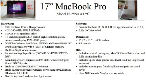 51ybZ2AOeeL. SL500  MacBook Pro A1297 17, Intel Core i7, 2.66 GHz, 8 GB DDR3 RAM Review