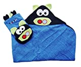 Bright Bots Baby Hooded Towel and Bath Mit 2 Piece Set in Blue Pig Design