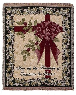"""Christmas Blessings Bow Tapestry Afghan Throw Blanket 50"""" X 60"""" front-995348"""