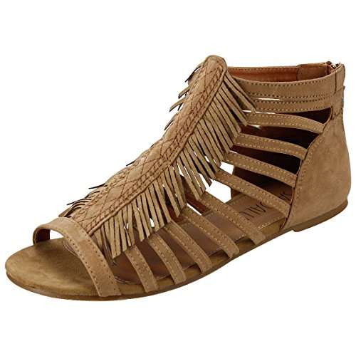 Sandalup Women's Fringed Flat Sandals