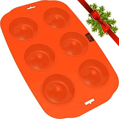 Silicone Donut Maker Baking Pan Tray - 6 Holes - Pure Food Grade Premium Non-Stick Silicon - Orange - Bake Like a Professional