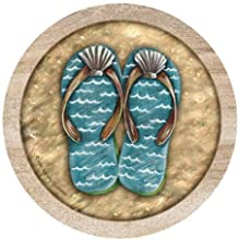 Thirstystone TSCY1 Thirstystone Set of 4 Sandstone Coasters - Flip Flops