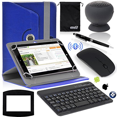 EEEKit 7-in-1 Office Kit for Universal 8 inch tablet, Samsung Galaxy Tab Hisense Sero 8 Pro Nextbook 8 NX785QC8G Dell Venue 8/Pro CobyKyros 8 Inch HKC 8 Inch Tagital 8 Inch RCA 8 Inch NOOK 8 Inch iPad Mini 2/3 Nextbook 8 Windows 8.1 Le Pan Mini 8 TC802A Verizon HP Stream 8 Windows 8.1 Lenovo IdeaTab A8-50 Insignia 8 Flex Windows 8.1 Toshiba Encore 2 WT8 PU Rotating Case Cover + Wireless Bluetooth Suction Cup Waterproof Speaker + Wireless Bluetooth Keyboard + Mouse + Mouse Pad + Stylus + Pouch (Deep Blue)