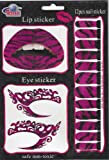 Trio Set of Matching Temporary Eyeliner, Lip and Nail Tattoos – Purple Zebra