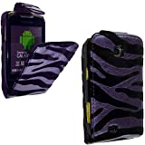 PU Leather Flip Case For SAMSUNG GALAXY MINI GT-S5570 S5570 VARIOUS DESIGNS + STYLUS PEN (BLACK LILAC EMBOSSED)