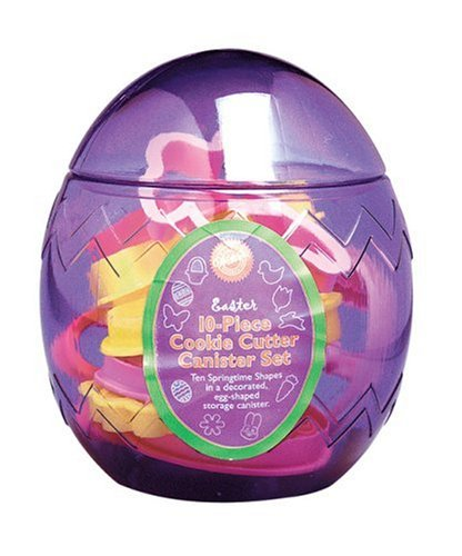 Wilton 10 Piece Easter Egg Cookie Cutter Canister