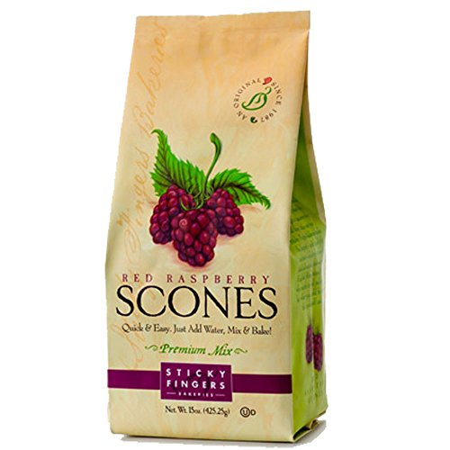 Sticky Fingers Scone Mix (Pack Of 2) 15 Ounce Bags - All Natural Scone Baking Mix (Raspberry)