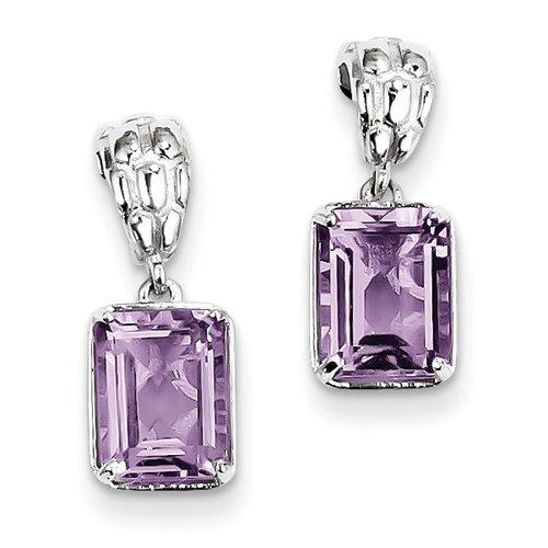 Pink Quartz Earrings In Sterling Silver - Emerald Shape - Butterfly Back - Grand