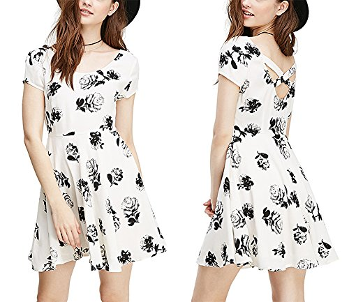 womens-fashion-leisure-stamp-back-cross-flower-slim-short-sleeved-dress