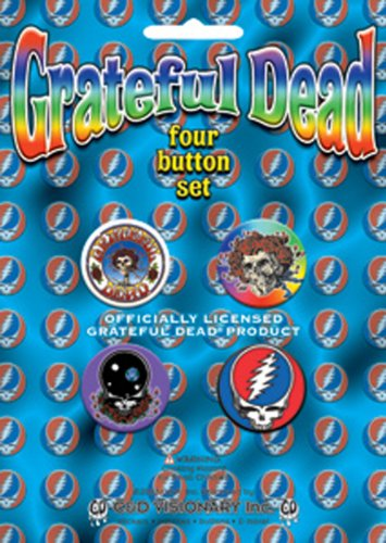 "GRATEFUL DEAD Skull cranio/Rose /Logo 4 Piece pezzo Assorted assortito GDP Inc. BUTTON Set, Officially Licensed Products Classic Rock Assorted Artwork Button pulsante Set - 1"" Each"