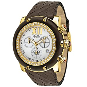 Glam Rock Women's GR10170D1 Miami Collection Chronograph Diamond Accented Brown Leather Watch