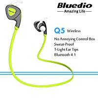 Bluedio Q5 In-Ear Wireless Bluetooth Headphone Sweat Proof Sports Headset Music Earphone With Built-In Microphone For Cell Phones Green Colour