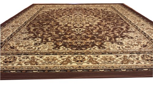D603 Medallion Traditional Brown 5x8 Actual Size 5'3x7'2 Rug