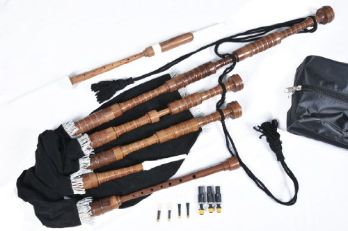Full Size Scottish Great Highland Rosewood Bagpipe Complete Wooden Set (Beginners Starter Package)