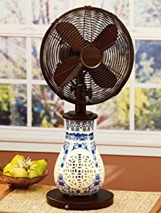 """24"""" Far East Blue China Ceramic Cut Out Oscillating Table Fan and Lamp"""