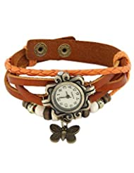 Festival 2014 Special GirlZ! Multilayer Leather Butterfly Bracelet With Watch - Orange