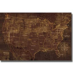 United States by Luke Wilson Stretched Canvas Map (Ready to Hang)