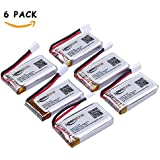 6 Pcs of Keenstone 3.7V 400mAh 25C LiPO Battery for Hubsan X4 (H107 H107C H107D H107L) 4 Channel 2.4GHz RC QuadCopter, JJRC H22 H6D, Syma X11 X11C, V252 JXD385 F180C, Walkera Super CP Mini CP Genius CP and more