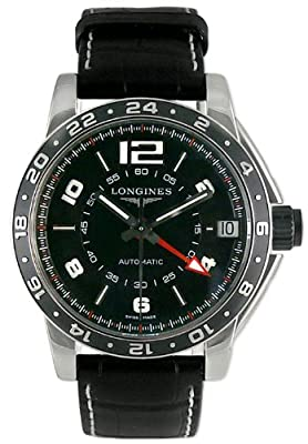 Longines Admiral GMT Automatic Steel Mens Swiss Strap Watch Black Dial Date L3.668.4.56.0 from Longines