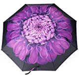 Automatic Travel Umbrella, Auto Open/close Foldable Rain Umbrella, Purple -Windproof, Compact for Easy Carrying Totes