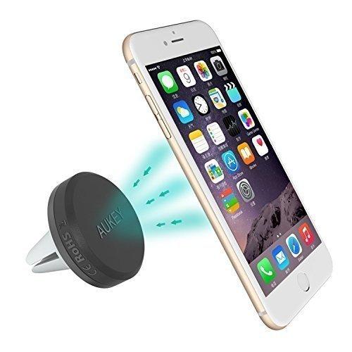 AUKEY Supporto Magnetico Auto Universale / Supporto Auto Smartphone Porta Telefono per iPhone 6/ 6s/ 5s/ 5c/ 5/ sony xperia / samsung galaxy s6 / Huawei / Xiaomi / One Plus ecc. ( Nero )