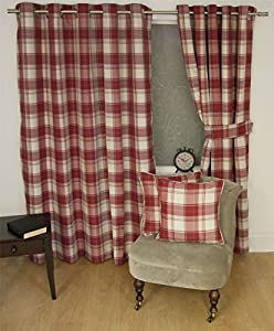"""Jacquard Tartan Check Red 45x90"""" 114x229cm Lined Ring Top Curtains Drapes from Curtains"""