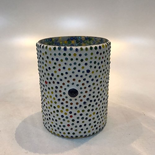 Dlite Crafts Multicolor Polka Design Home Decorative Votive Candle Holder, Set Of 2 PCs - B06Y119VMS