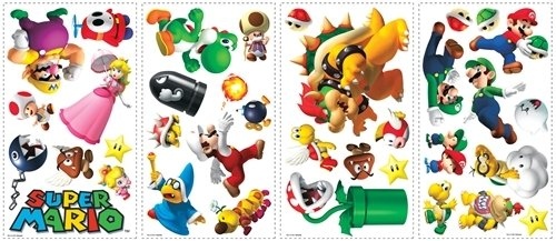 Super Mario 35 Big Wall Stickers Nintendo Game Room Decor Bowser Luigi Decals C front-1063914