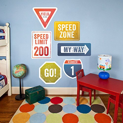 "Oopsy Daisy Road Signs Peel and Place, Multired, 54"" x 30"""