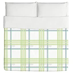 Tile Boy Green Duvet: Queen