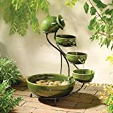 Smart Solar 23931R01 Ceramic Solar Cascading Fountain, Glazed Green Bamboo Design