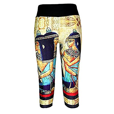 JOYHY Women's Print Yoga Sports Workout Capris Leggings