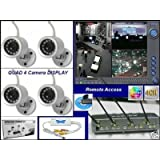 Image of Wireless Security Camera System DVR Infrared Surveillance (4) Quad View Quad Display 2.4ghz Night Vision Real Time Color