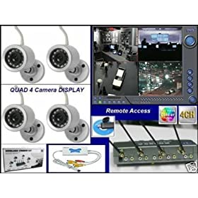 Wireless Security Camera System DVR Infrared Surveillance (4) Quad View Quad Display 2.4ghz Night Vision Real Time Color