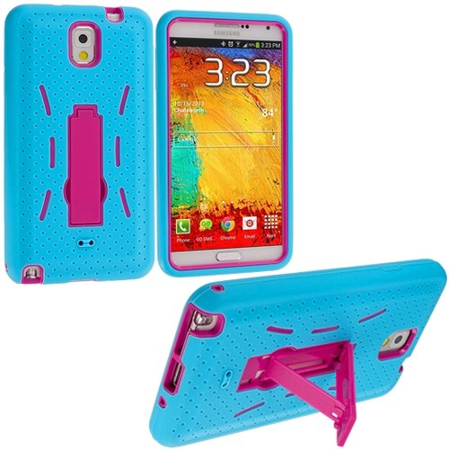 Cell Accessories For Less (Tm) Baby Blue / Hot Pink Hybrid Heavy Duty Hard/Soft Case Cover With Stand For Samsung Galaxy Note 3 N9000 - By Thetargetbuys front-898390