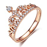 UMODE Clear Exquisite Princess Crown Tiara Design Tiny Cubic Zirconia CZ Diamond Accented Fashion Ring (9)