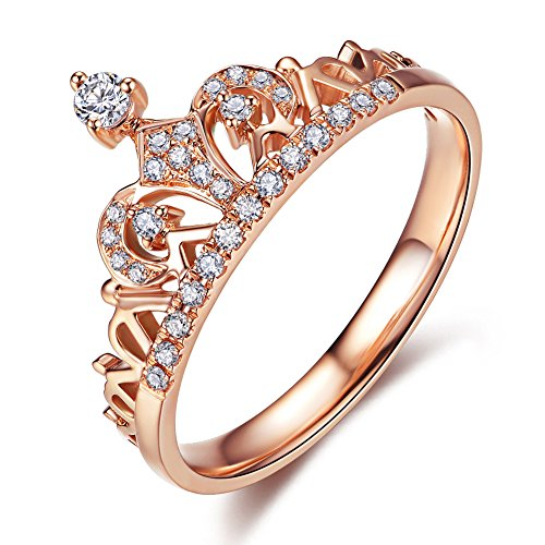 UMODE Jewelry Exquisite Princess Crown Shaped Clear Micro Cubic Zirconia Diamond Accented Fashion Ring (7)