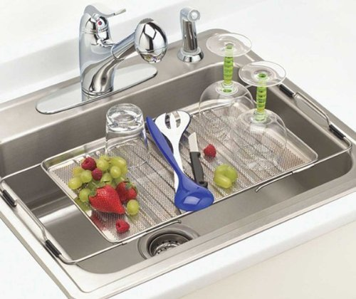 Better Houseware Adjustable Over Sink Drying Tray, Stainless