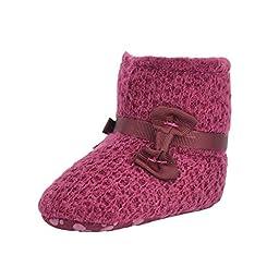 Weixinbuy Newborns Baby Girls Knit Bowknot Warm Soft Sole Winter Snow Boots M