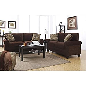 serta trinidad sofa set in chocolate fabric living room furniture sets. Black Bedroom Furniture Sets. Home Design Ideas